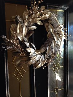 Platinum Wreath with gold beads, crystals and feathers