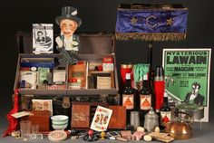 VINTAGE MAGICIAN'S TRUNK FILLED WITH MAGIC TRICKS : Lot 599