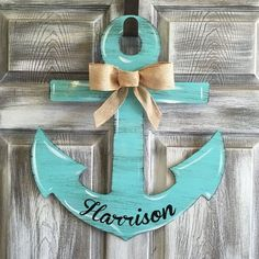 Aqua Anchor Personalized Door Hanger by Steel Southern Design Anchor Painting, Anchor Crafts, Anchor Home Decor, Anchor Wreath, Wood Anchor, Anchor Art, Wooden Door Hangers, Wooden Door Signs, Wood Cutouts