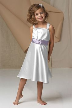 STYLE 47243 - Dove duchess satin spaghetti strap tea length dress with draped bodice, violet duchess satin sash with bow