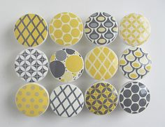 Yellow and Gray Pattern Knobs, Dots, Diamonds - Wood Knobs- 1 1/2 Inches - Set of 12 on Etsy, $45.00