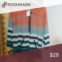 Long sleeve summer,fall striped sporty top Beautiful sporty long sleeve top.Great for cool summer nights. Tops Tunics