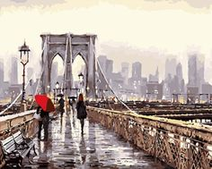 Exuding realism through color and light, the Macneil Studio Brooklyn Bridge Canvas Wall Art is a truly unique and beautiful work of art. Vivid and bold, this vibrant piece will stand out in any space and comes ready to hang. Brooklyn Bridge, Ponte Do Brooklyn, London Bridge, Bridge Painting, Creation Photo, City Aesthetic, Paint By Number, Acrylic Colors, Artist Canvas