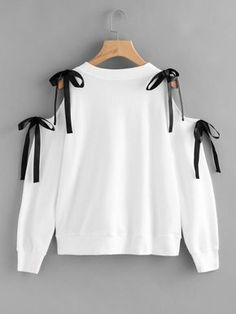Fall round neck with bow tie pullover. This sweatshirt will also like a top with its hole on the shoulder. Perfect with jeans too! Open Shoulder Bow T… – Sweatshirt Girls Fashion Clothes, Teen Fashion Outfits, Girl Fashion, Fashion Dresses, 80s Fashion, Fashion Fashion, Street Fashion, Womens Fashion, Fashion Trends