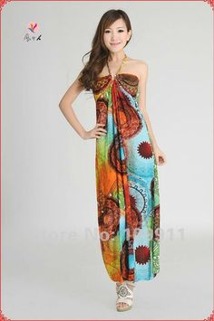 Resort And Beach Dresses   ... dress fashion resort casual beach dress Halter chest wrapped dress 028