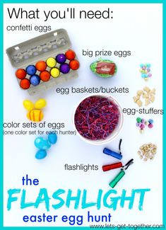 The Flashlight Easter Egg Hunt from Let's Get Together- some easter fun for the big kids, teenagers, or adults. The post includes a list of everything you need, instructions and tips for setting it up, and rules of the game. We look forward to this every year!  www.lets-get-together.com #tradition #egghunt #easterfun