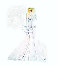 Sposa, Bride Illustration by @MissStyleCreazioni.  Bride Illustration, Fashion Illustration. Illustrazione ritratto di Sposa disegnato a mano. Abito da #sposa lungo con fiore. #hauteCouture #weddingDrawing #WeddingDress #Sketch  #Bride #realbride #BridalPortrait #commission