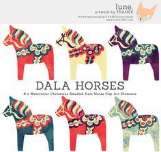 Watercolor Christmas Dala Horse Clip Art. by FRANCEillustration