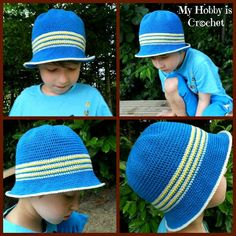 Crochet sun hat for boys-free pattern with tips for color change and invisible finish off.