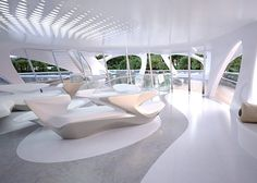 Interior images of Zaha Hadid's Jazz superyacht for Blohm+Voss