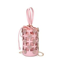 Flowers Hollow Out Chain Bucket Bag Pink ($19) ❤ liked on Polyvore featuring bags, handbags, shoulder bags, white handbags, chain handbags, chain shoulder bag, pink handbags and pink purse