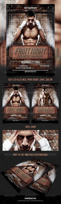 blood, boxing, Boxing Match, cage, Cage Fight, challenge, fight, fight flyer, fight night, Fight show, fighter, fighting flyer, final showdown, fitness, K-1, k1, match, mix fight, mma, muay thai, showdown match, sport, sport final, street, street fighting, thai boxing, throwdown, UFC, UFC Match Fight Night Flyer Template Description: PSD File 4.25×6.25 inches Print Ready (CMYK, 300 DPI) Easy to edit and fully customizable All text are editable ...