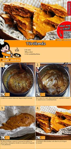 Turkish honey is a tasty and quick-made snack. Sugar, honey and baking soda are all the ingredients you need for this dessert. The Turkish Honey Recipe video is easy to find using the QR code :] # Turkish Honey Honey Recipes, Sweet Recipes, Cake Recipes, Dessert Recipes, Hungarian Recipes, Turkish Recipes, Dessert Drinks, Dessert Food, Retro Recipes