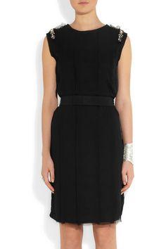 Lanvin|Crystal-embellished cotton-blend jersey dress|NET-A-PORTER.COM
