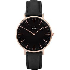 Cluse CL18001 La Bohme leather and stainless steel watch ($85) ❤ liked on Polyvore featuring jewelry, watches, stainless steel jewellery, oversized watches, buckle watches, oversized jewelry and leather watches