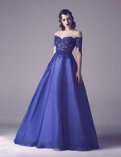 Royal Blue Vintage A Line Organza Prom Dresses With Sleeves Sexy Sheer Neck Lace…
