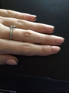 Gelish pink & grey minimal french manicure.