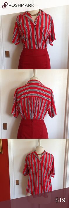 """Vintage Liz Claiborne """"Silk"""" Blouse Liz Claiborne red, white and black striped blouse. High-low, two front pockets, button down, collar, shirtsleeves. Size small. Material: 100% polyester. Measurements: shoulders: 19"""", bust: 21"""", sleeve length: 7"""", length (front): 25"""", length (back): 28"""". Pre-loved, vintage minimal wear. Liz Claiborne Tops Blouses"""