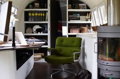 Airstream Office - with a small heat source. Great way to create a home office without adding to the house.