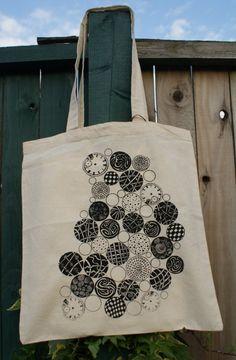 Limited Edition Screenprinted STEAMPUNK ZENTANGLES Eco Cotton Shopper Tote Bag $10