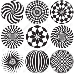 Illustration of Optical Art in Black and White vector art, clipart and stock vectors. Optical Illusions Drawings, Optical Illusion Tattoo, Illusion Drawings, Art Drawings, Geometric Art, Pattern Art, Painted Rocks, Line Art, Vector Art