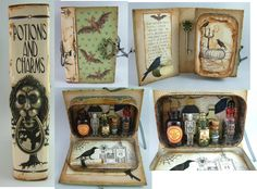Potions and Charms - Book with Altoids Tin inside (mini apothecary inside the tin.) OH my word!  that is sooooo cute!