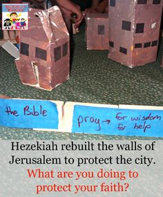 As we studied Hezekiah for this lesson, the kids and I built walls and learned how to build up our faith, a great takeaway for a Hezekiah lesson. Bible Crafts For Kids, Activities For Kids, Kids Bible, Bible Activities, Preschool Ideas, Kids Church Lessons, Lessons For Kids, School Lessons, Sunday School Curriculum