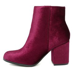 Annette Garnet Velvet Ankle Booties ($33) ❤ liked on Polyvore featuring shoes, boots, ankle booties, red, high ankle booties, velvet boots, rounded toe boots, round toe boots and qupid booties