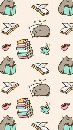 Cute pusheen books Wallpaper Gatos, Cat Wallpaper, Kawaii Wallpaper, Cute Wallpaper Backgrounds, Cute Cartoon Wallpapers, Disney Wallpaper, Pattern Wallpaper, Iphone Wallpaper, Screen Wallpaper