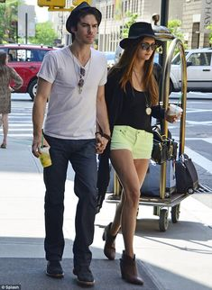 Neon Nina: Vampire Diaries Dobrev steps out in bright neon green shorts as she takes a romantic stroll with Ian Somerhalder Serie The Vampire Diaries, The Vampires Diaries, Vampire Diaries Damon, Vampire Diaries Wallpaper, Vampire Diaries The Originals, Damon Salvatore, Ian Somerhalder, Nina Dobrev, Delena