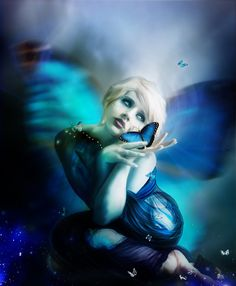 l'effet papillon - commission by InertiaRose on DeviantArt Blue Fairy, Fairy Land, Fairy Tales, Butterfly Images, Butterfly Effect, Butterfly Kisses, Blue Butterfly, Stick Art, Fairy Pictures