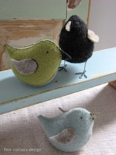 adorable recycled sweater birdies **This one does have a pattern and tutorial- Yay**