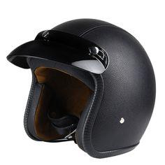 Nieuwe Synthetische Lederen Motorhelm Retro Vintage Cruiser Chopper Scooter Cafe Racer Moto Helm 3/4 Open Helm DOT