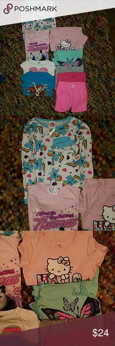5T lot My little pony PJs 5 t-shirts, 3 shorts and a set of Pajamas. All in like new condition. Shirts & Tops Tees - Short Sleeve