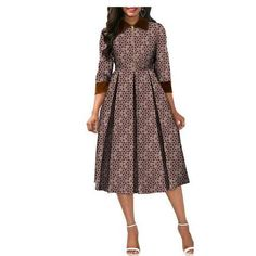 Image of African Dresses for Women Dashiki Elegant Slim Africa Clothe, three quarter sleeve calf-length zipper A-line wax cotton dress for women Size XXS-6XL