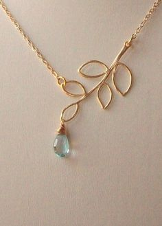 blue topaz and golden branch necklace