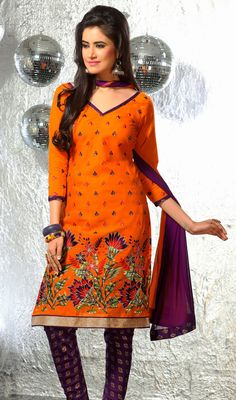 Deep Orange Embroidered Cotton Churidar Dress  SKU: FD-1249-30845 Look more than enchanting and adorable dressed in this deep orange cotton churidar dress. This engaging attire is displaying some fantastic embroidery done with multi and resham work. #ChuridarSalwarSuits #PunjabiSalwarKameez