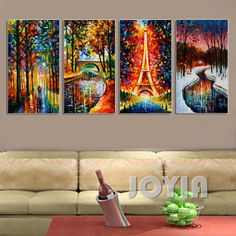 4 Panel Abstract Landscape Textured Paintings Eiffel Tower Snow River Street Picture Canvas Print Color Artwork Multi No Frame Canvas Pictures, Pictures To Paint, Print Pictures, Frames For Canvas Paintings, Canvas Wall Art, Canvas Prints, Street Pictures, French Country Furniture, Gouache Painting