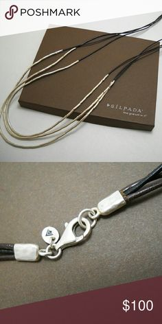 """NEW Designer SILPADA """"Silver Flash"""" Necklace (N2196) Composed of leather and liquid sterling silver, this beauty statement piece measures a long 30"""". The price on this one is firm please as I'm selling for a friend. Box included, although I don't believe it's the original box (item number on back may not match). Silpada Jewelry Necklaces"""