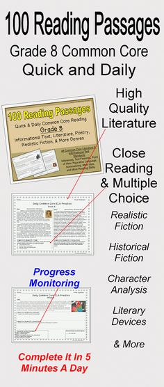 ~BRAND NEW~ Grade 8 Daily Common Core Reading Practice Weeks 1-20 (100 Passages)-Students can analyze figurative language, character traits, author's purpose, integrate texts, determine the theme of a reading passage and more in just five minutes a day with these 100 different Common Core aligned passages. The questions are text dependent and include close reading, multiple choice, and short response.$
