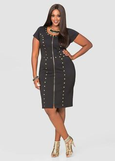 6807c8ec386a1 Pyramid Stud Zip Front Sheath Dress-Plus Size Dresses-Ashley Stewart