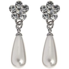 John Lewis Diamante Flower Pearl Teardrop Stud Earrings