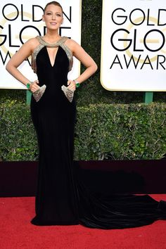 Blake Lively wore a custom-made Atelier Versace velvet gown, encrusted with Swarovski crystals