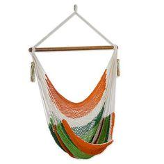 Cotton hammock swing, 'Caribbean Citrus'