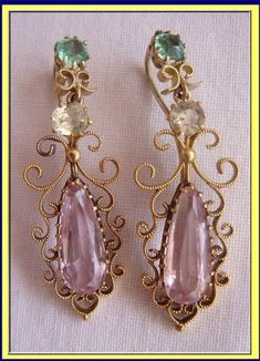ANTIQUE EARRINGS PINK TOPAZ, EMERALD, GOLD REGENCY 1820 For Sale   Antiques.com   Classifieds..