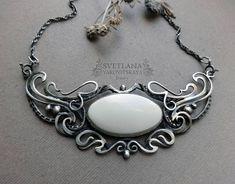 Silver necklace White stone necklace Cacholong necklace