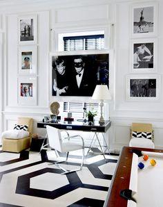 Home Office.  Black and white. Interior Designer: Eric Cohler.