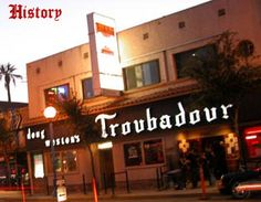 There's probably no music venue in L. that can match the history of The Troubadour. Elton John started here and both The Byrds and The Eagles formed there. My show here was in 1972 Linda Ronstadt & Jackson Browne Santa Monica Blvd, San Fernando Valley, Laurel Canyon, Sunset Strip, City Of Angels, California Dreamin', Hollywood California, West Hollywood, Vintage Hollywood