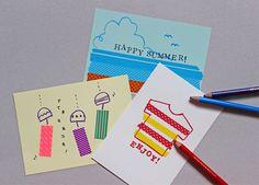 今年の暑中見舞いは、マステを使ってちょっぴり個性的に仕上げてみませんか? 絵が苦手な方でも、ちょっとしたイラストとマステで、かんたんに夏らしい絵が描けます。 ポイントは先を丸くした色鉛筆で、太めのラフな線を描くこと、色鉛筆の色は濃い色を選ぶことです...