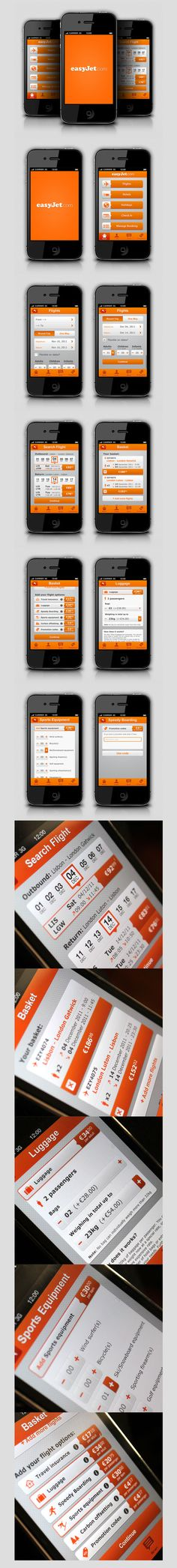 EasyJet iPhone application by Joana Bochecha, via Behance  ***  This is a project developed by choice, with the personal goal of increase the user interfaces developing and graphics designs skills. There wasn't any client request and the brand was chosen randomly.